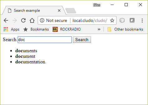 View of demo search screen with autocomplete