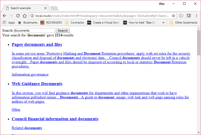 View of demo page with search results